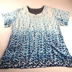 Grey's Anatomy by Barco Signature Scrub Top Size 2XL Abstract Dot Bubble Print O